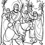 Вход Господень в Иерусалим. Христианские раскраски.